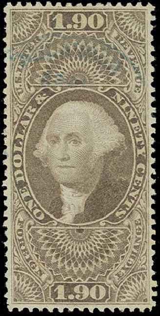 Value of US Stamps Scott Catalogue #R80 - 1863 US$1.90 Revenue Foreign Exchange. H.R. Harmer, Jun 2015, Sale 3007, Lot 3541