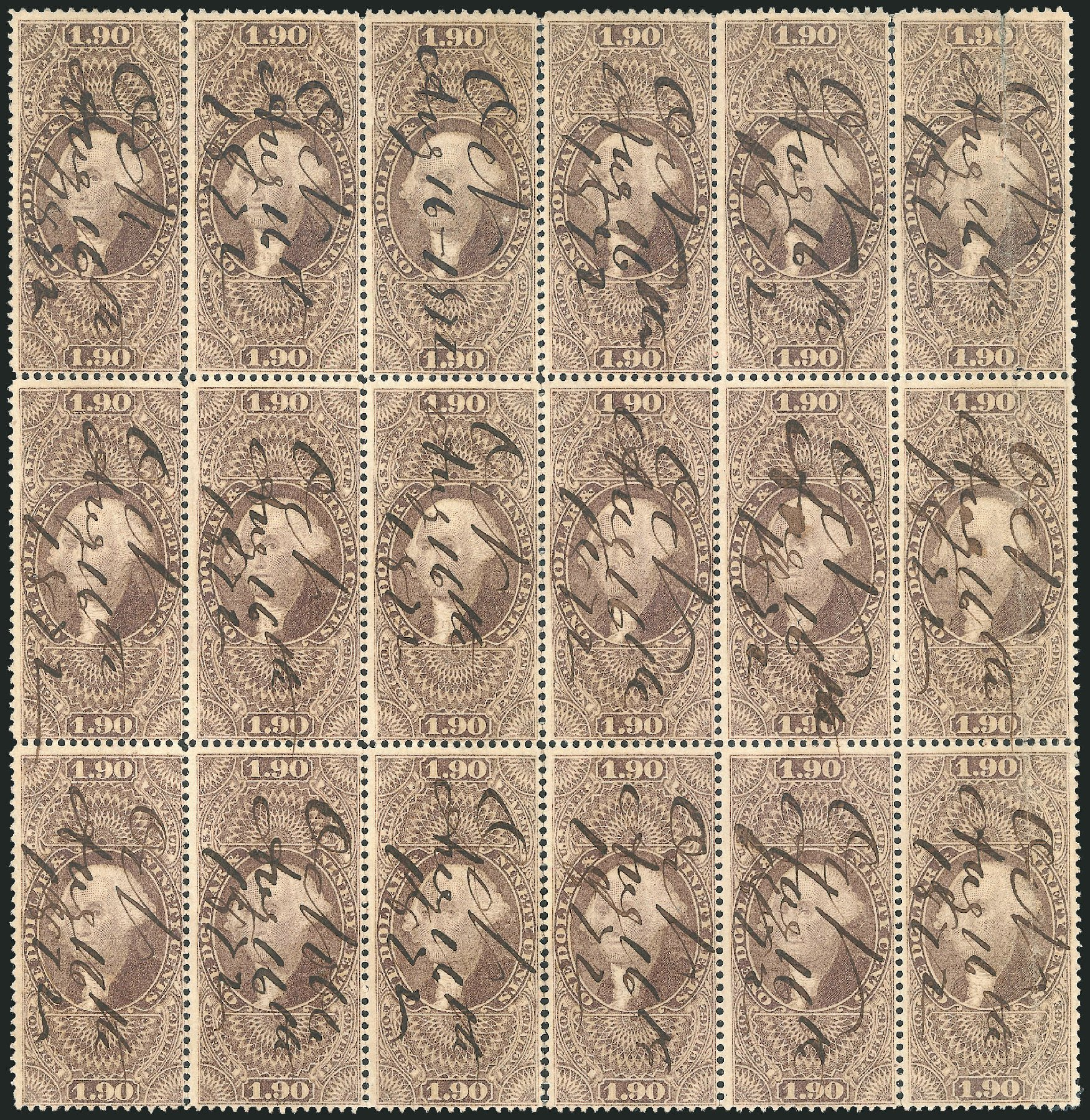 Values of US Stamp Scott Cat. # R80: US$1.90 1863 Revenue Foreign Exchange. Robert Siegel Auction Galleries, Jun 2015, Sale 1100, Lot 155
