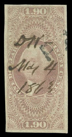 US Stamp Price Scott Catalogue # R80 - 1863 US$1.90 Revenue Foreign Exchange. Matthew Bennett International, Sep 2010, Sale 333, Lot 4052