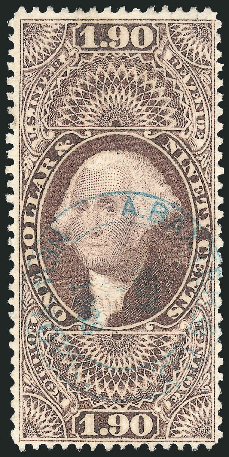 US Stamp Value Scott Catalog #R80: US$1.90 1863 Revenue Foreign Exchange. Robert Siegel Auction Galleries, Nov 2011, Sale 1015, Lot 73