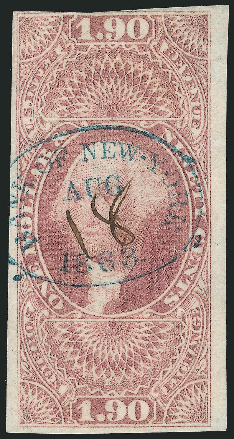 Cost of US Stamps Scott Cat. #R80 - 1863 US$1.90 Revenue Foreign Exchange. Robert Siegel Auction Galleries, Nov 2013, Sale 1061, Lot 4283