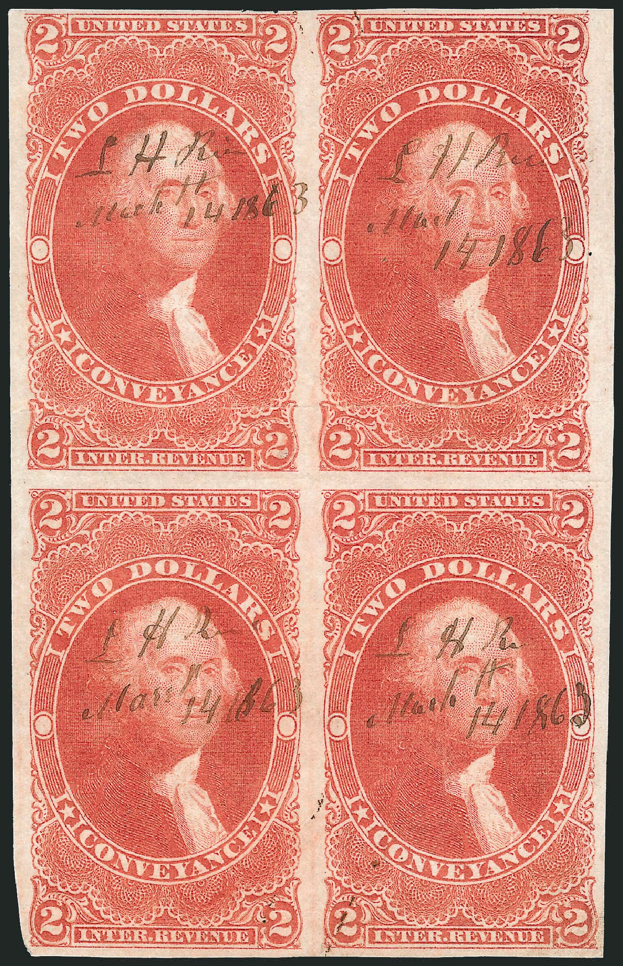 Value of US Stamps Scott Cat. R81: 1862 US$2.00 Revenue Conveyance. Robert Siegel Auction Galleries, Oct 2010, Sale 997, Lot 6578
