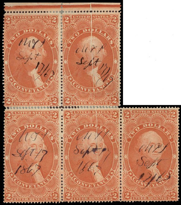 US Stamp Value Scott Cat. R81 - US$2.00 1862 Revenue Conveyance. Daniel Kelleher Auctions, May 2015, Sale 665, Lot 119