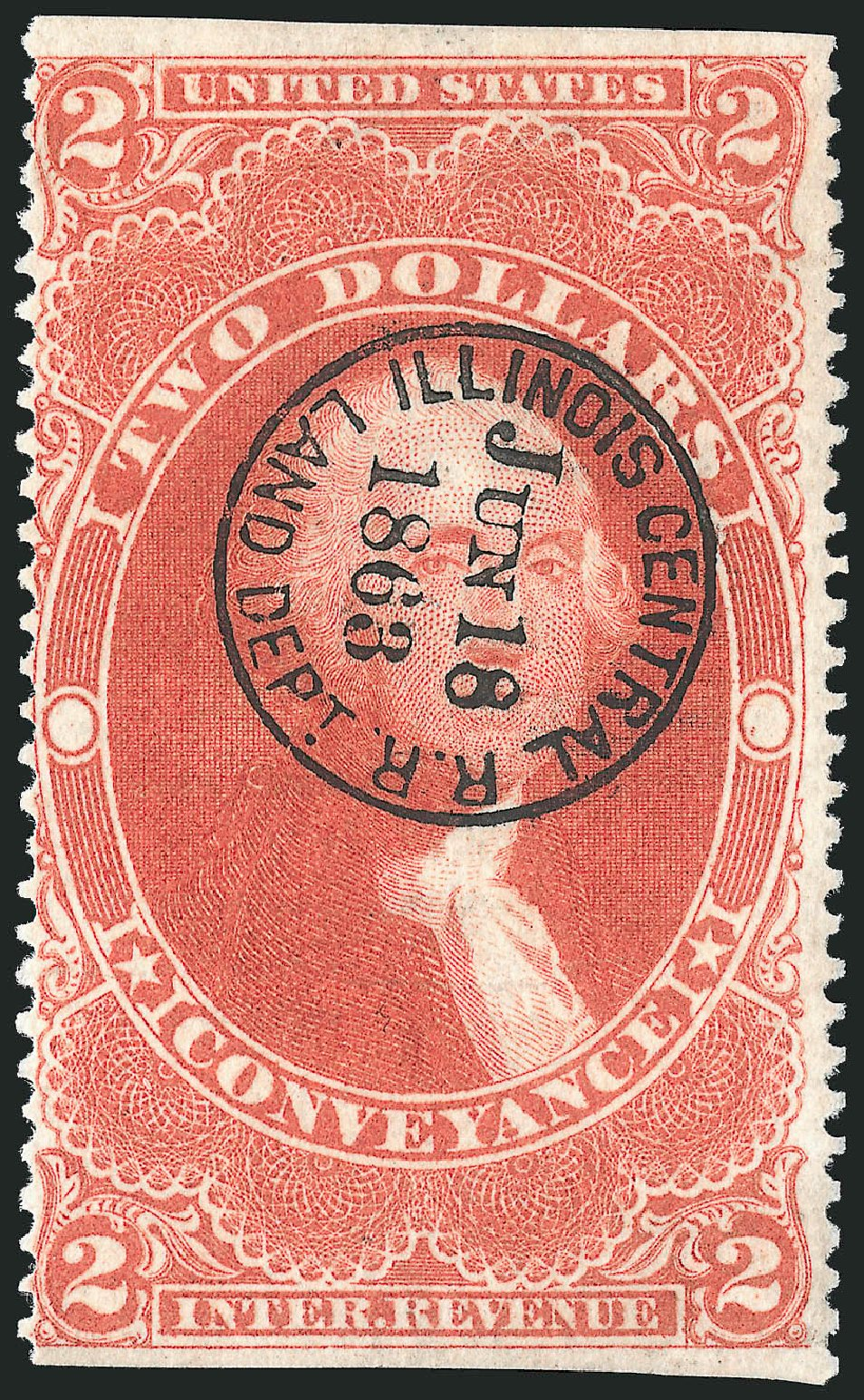 Value of US Stamp Scott Catalog #R81: 1862 US$2.00 Revenue Conveyance. Robert Siegel Auction Galleries, Dec 2014, Sale 1089, Lot 299