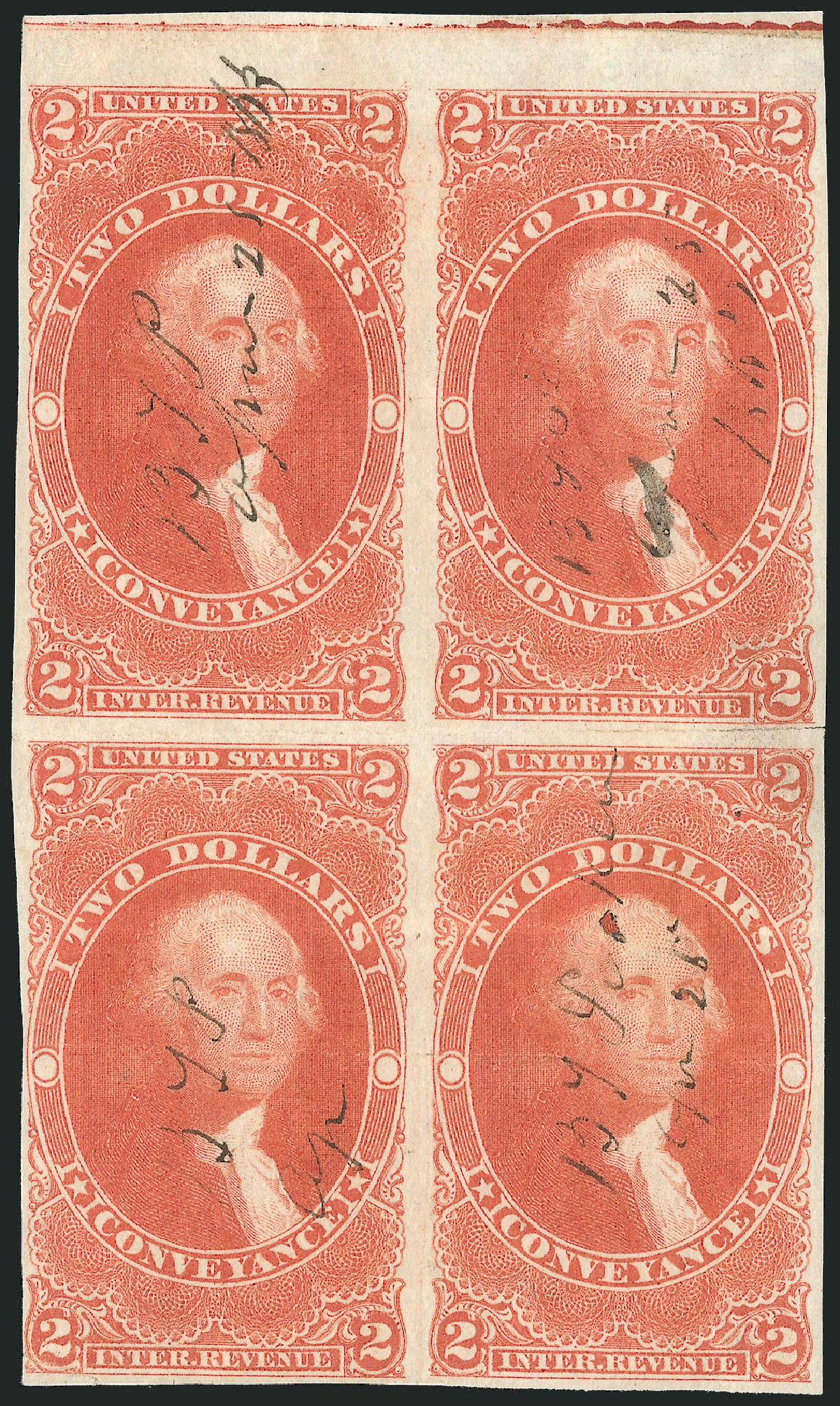 Price of US Stamps Scott Cat. R81: US$2.00 1862 Revenue Conveyance. Robert Siegel Auction Galleries, Dec 2014, Sale 1089, Lot 364
