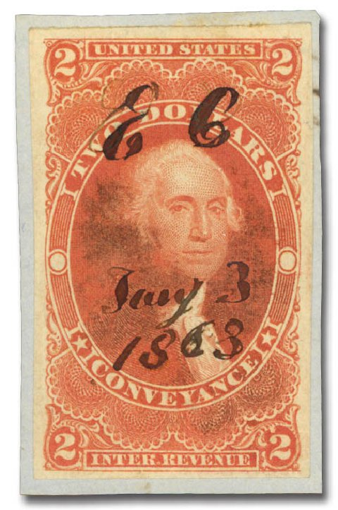 US Stamp Price Scott Catalog #R81 - US$2.00 1862 Revenue Conveyance. Daniel Kelleher Auctions, May 2015, Sale 665, Lot 115