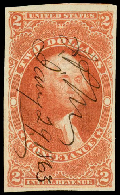 Price of US Stamp Scott # R81 - 1862 US$2.00 Revenue Conveyance. Daniel Kelleher Auctions, May 2015, Sale 665, Lot 113