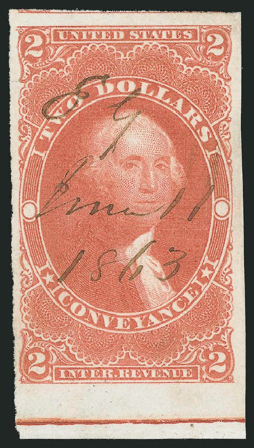 Value of US Stamp Scott Catalog #R81: 1862 US$2.00 Revenue Conveyance. Robert Siegel Auction Galleries, Jun 2015, Sale 1100, Lot 156
