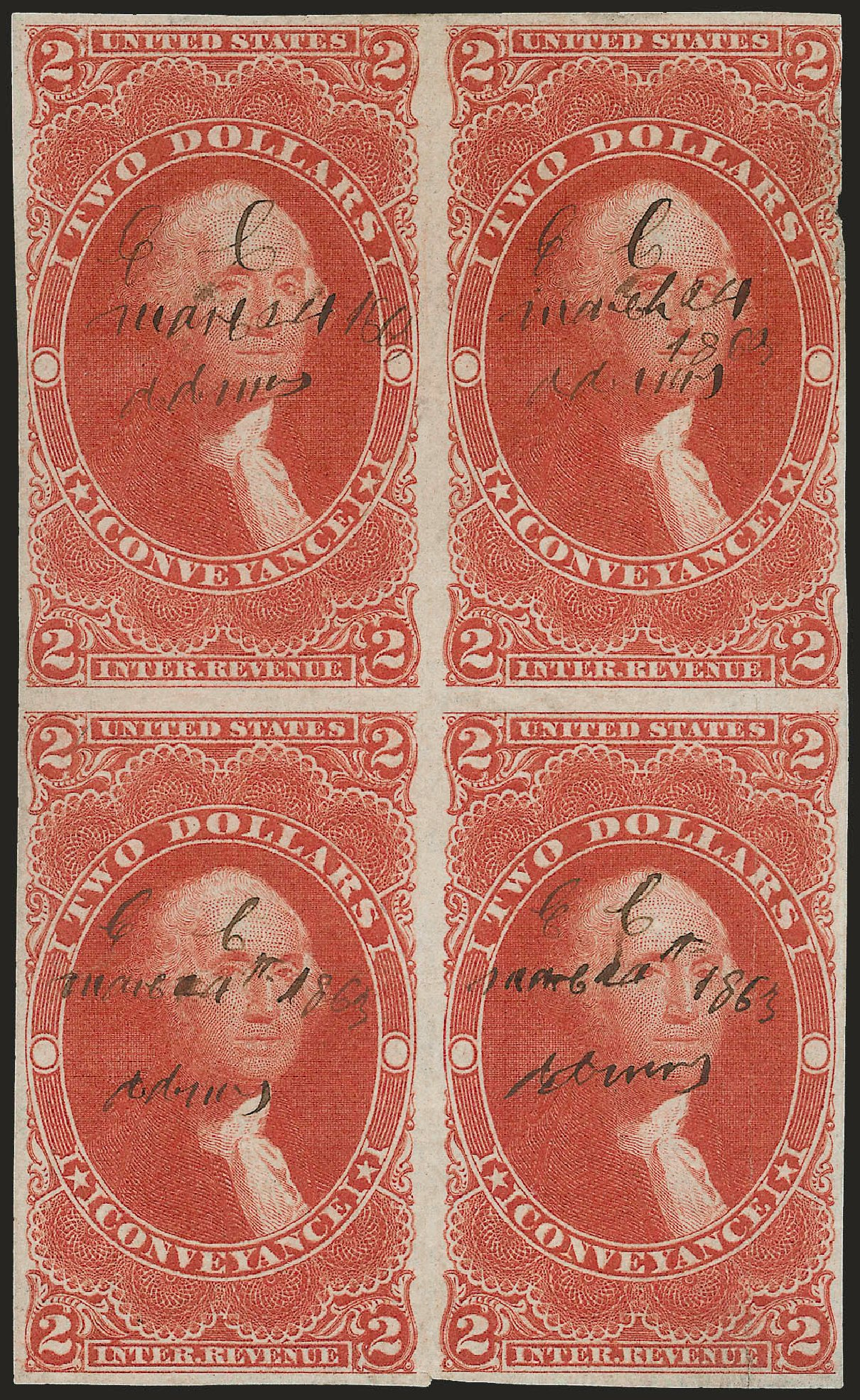 Cost of US Stamp Scott Catalogue #R81 - US$2.00 1862 Revenue Conveyance. Robert Siegel Auction Galleries, Dec 2008, Sale 967, Lot 5236
