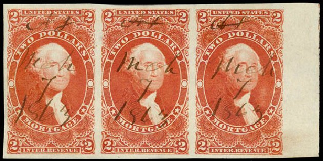 Cost of US Stamp Scott Cat. # R82 - 1862 US$2.00 Revenue Mortgage. Daniel Kelleher Auctions, May 2015, Sale 665, Lot 120