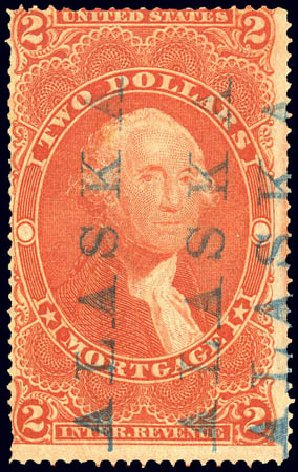 Value of US Stamp Scott Catalog # R82: 1862 US$2.00 Revenue Mortgage. Matthew Bennett International, Dec 2008, Sale 330, Lot 1995