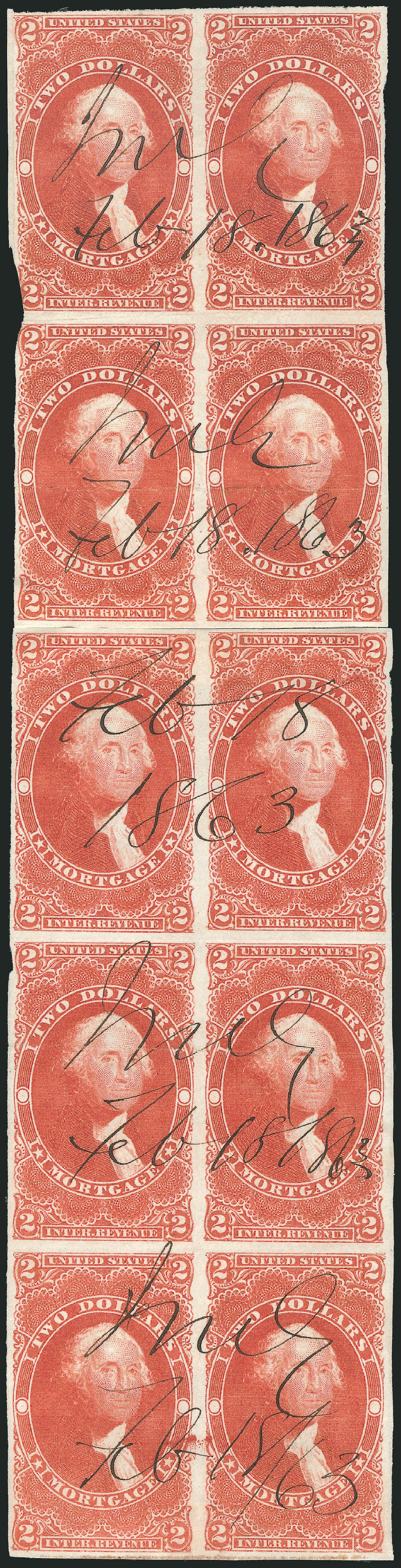 Cost of US Stamp Scott Cat. # R82 - 1862 US$2.00 Revenue Mortgage. Robert Siegel Auction Galleries, Dec 2014, Sale 1089, Lot 365