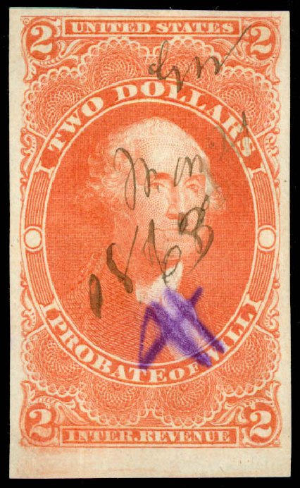 US Stamp Value Scott Catalog #R83: US$2.00 1862 Revenue Probate of Will. Daniel Kelleher Auctions, Jun 2015, Sale 670, Lot 20