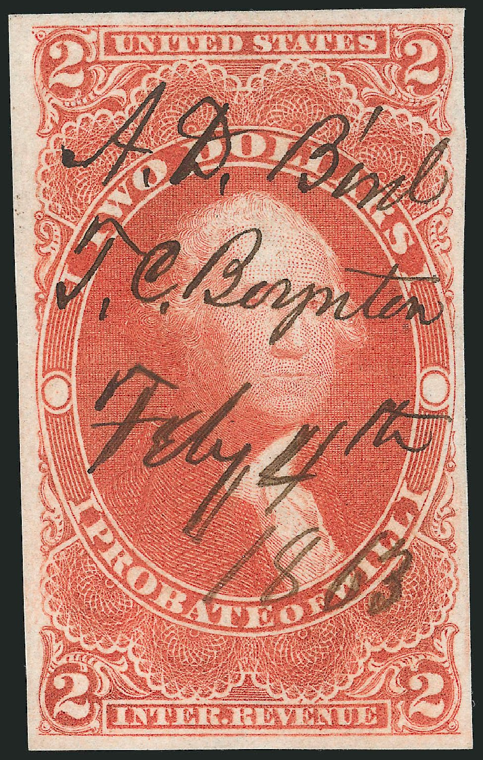 Price of US Stamps Scott Catalogue # R83: US$2.00 1862 Revenue Probate of Will. Robert Siegel Auction Galleries, Nov 2011, Sale 1015, Lot 21