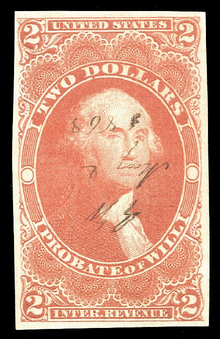 Cost of US Stamps Scott Catalog R83: 1862 US$2.00 Revenue Probate of Will. Cherrystone Auctions, Nov 2009, Sale 200911, Lot 3175