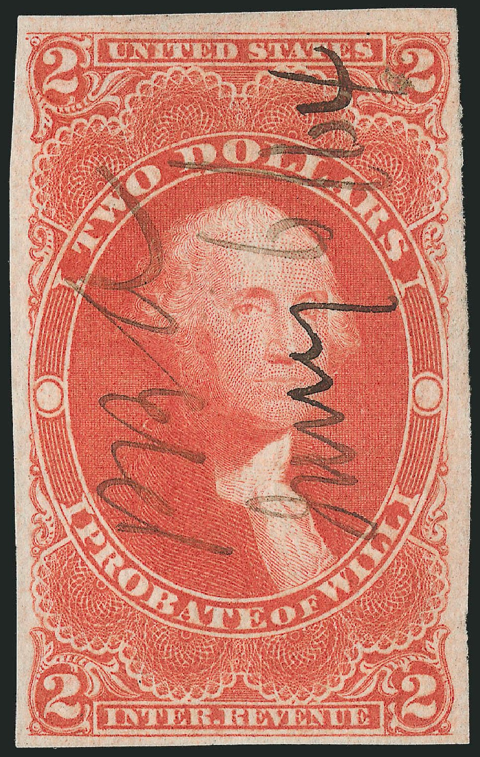 Price of US Stamps Scott R83: US$2.00 1862 Revenue Probate of Will. Robert Siegel Auction Galleries, Nov 2013, Sale 1061, Lot 4285