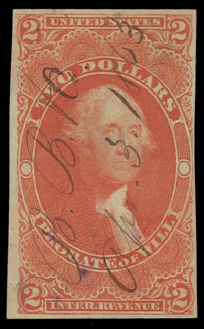 Prices of US Stamp Scott Cat. #R83: US$2.00 1862 Revenue Probate of Will. Daniel Kelleher Auctions, Jan 2012, Sale 628, Lot 762