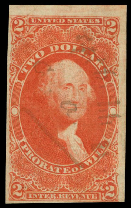 Cost of US Stamps Scott # R83: US$2.00 1862 Revenue Probate of Will. Daniel Kelleher Auctions, May 2015, Sale 665, Lot 122