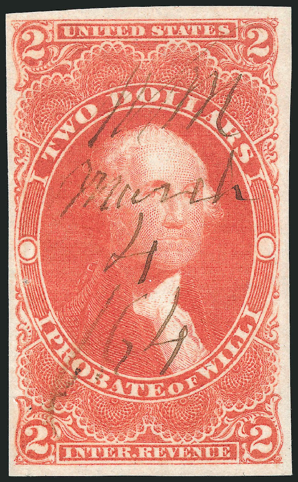 US Stamp Price Scott Catalogue R83 - US$2.00 1862 Revenue Probate of Will. Robert Siegel Auction Galleries, Oct 2012, Sale 1031, Lot 1012