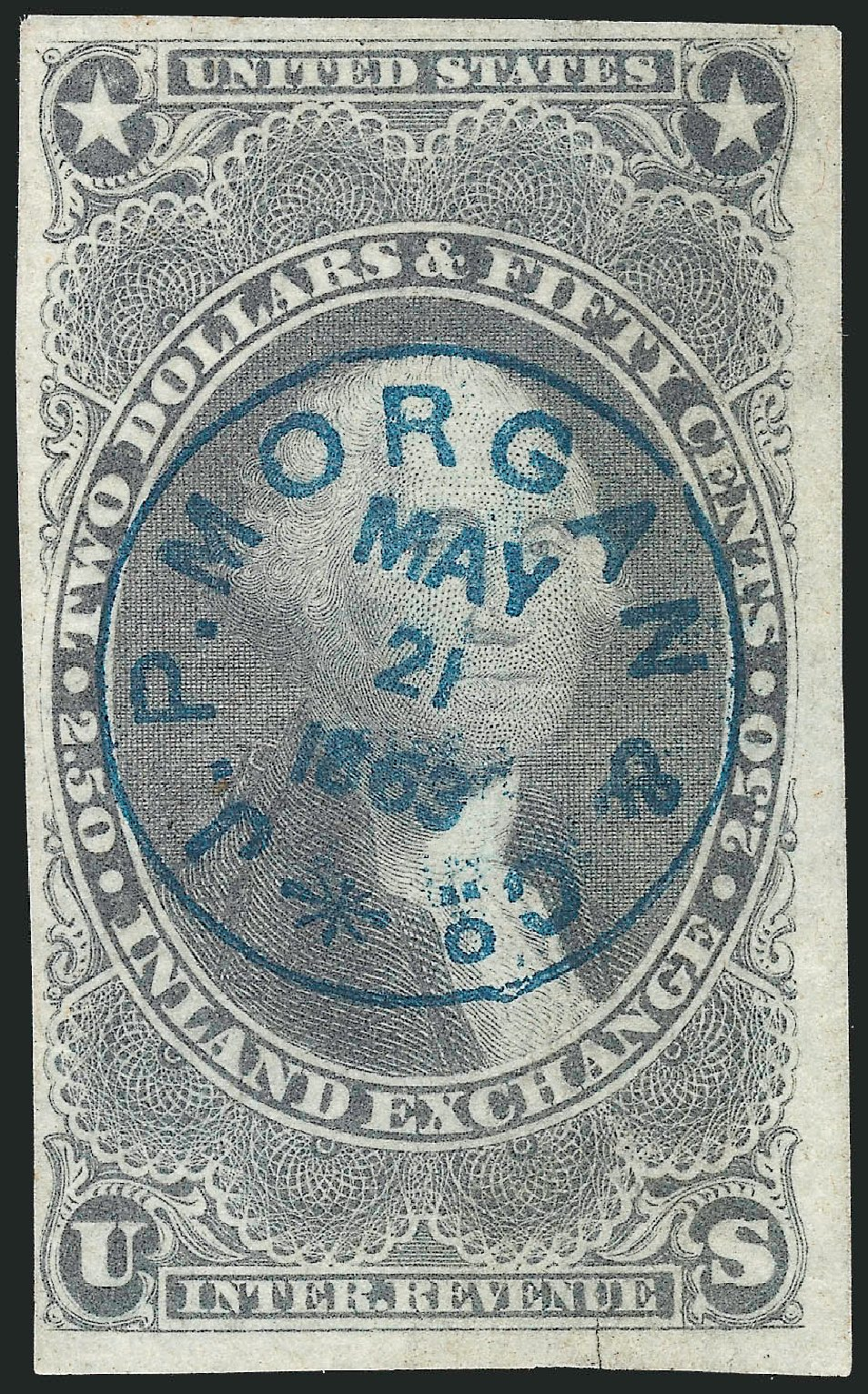 US Stamps Value Scott Catalog R84 - 1863 US$2.50 Revenue Inland Exchange. Robert Siegel Auction Galleries, Dec 2014, Sale 1089, Lot 247