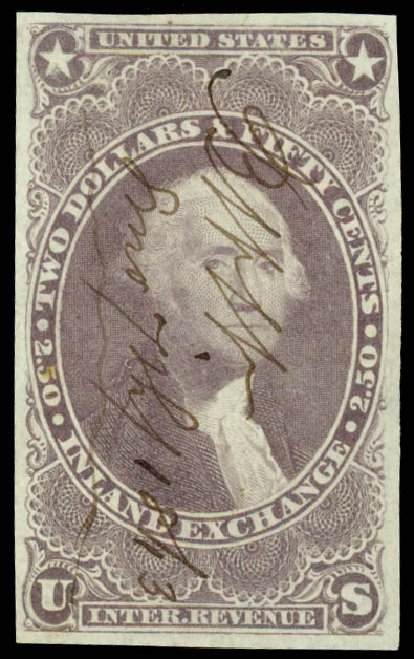 US Stamp Price Scott Catalogue # R84: US$2.50 1863 Revenue Inland Exchange. Daniel Kelleher Auctions, Jun 2015, Sale 670, Lot 21