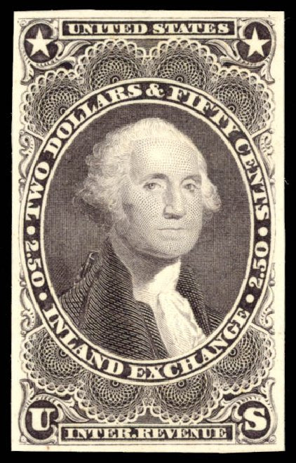 US Stamps Prices Scott #R84: US$2.50 1863 Revenue Inland Exchange. Daniel Kelleher Auctions, May 2015, Sale 665, Lot 125