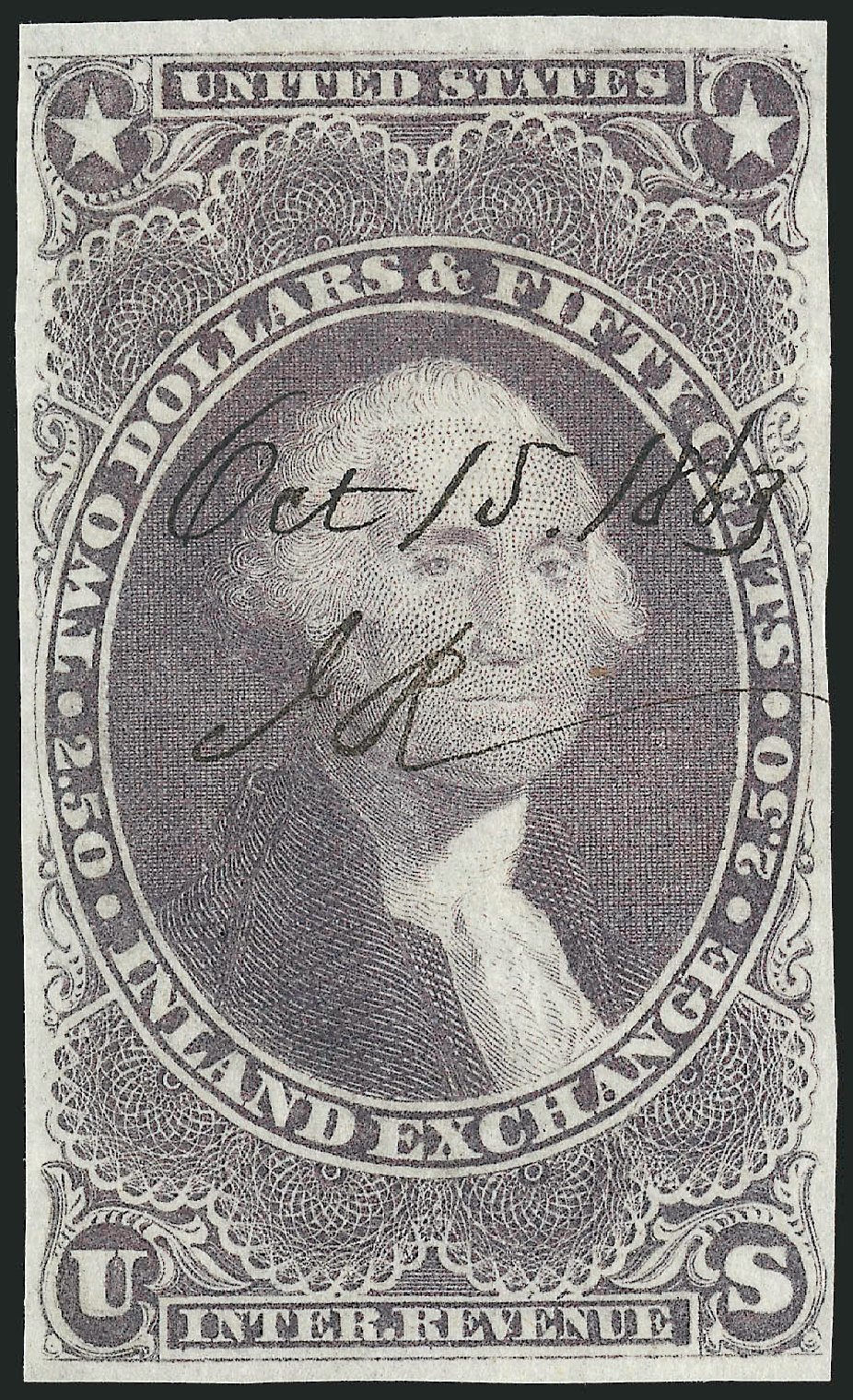 Values of US Stamps Scott Catalog #R84 - 1863 US$2.50 Revenue Inland Exchange. Robert Siegel Auction Galleries, Nov 2011, Sale 1015, Lot 22