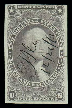 US Stamps Price Scott Cat. #R84 - 1863 US$2.50 Revenue Inland Exchange. Matthew Bennett International, Dec 2007, Sale 325, Lot 2613