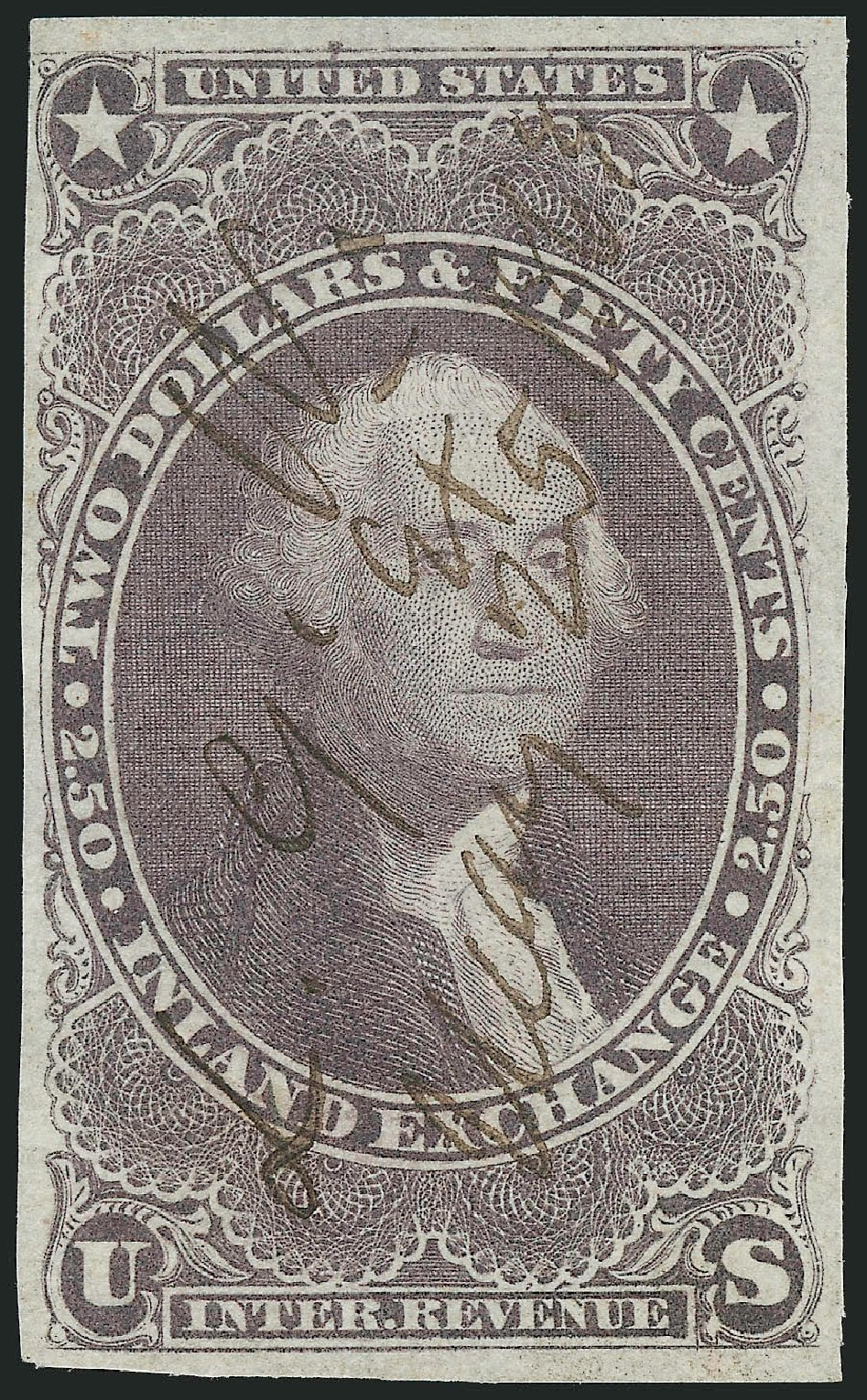 US Stamps Value Scott Cat. #R84 - 1863 US$2.50 Revenue Inland Exchange. Robert Siegel Auction Galleries, Mar 2014, Sale 1066, Lot 26