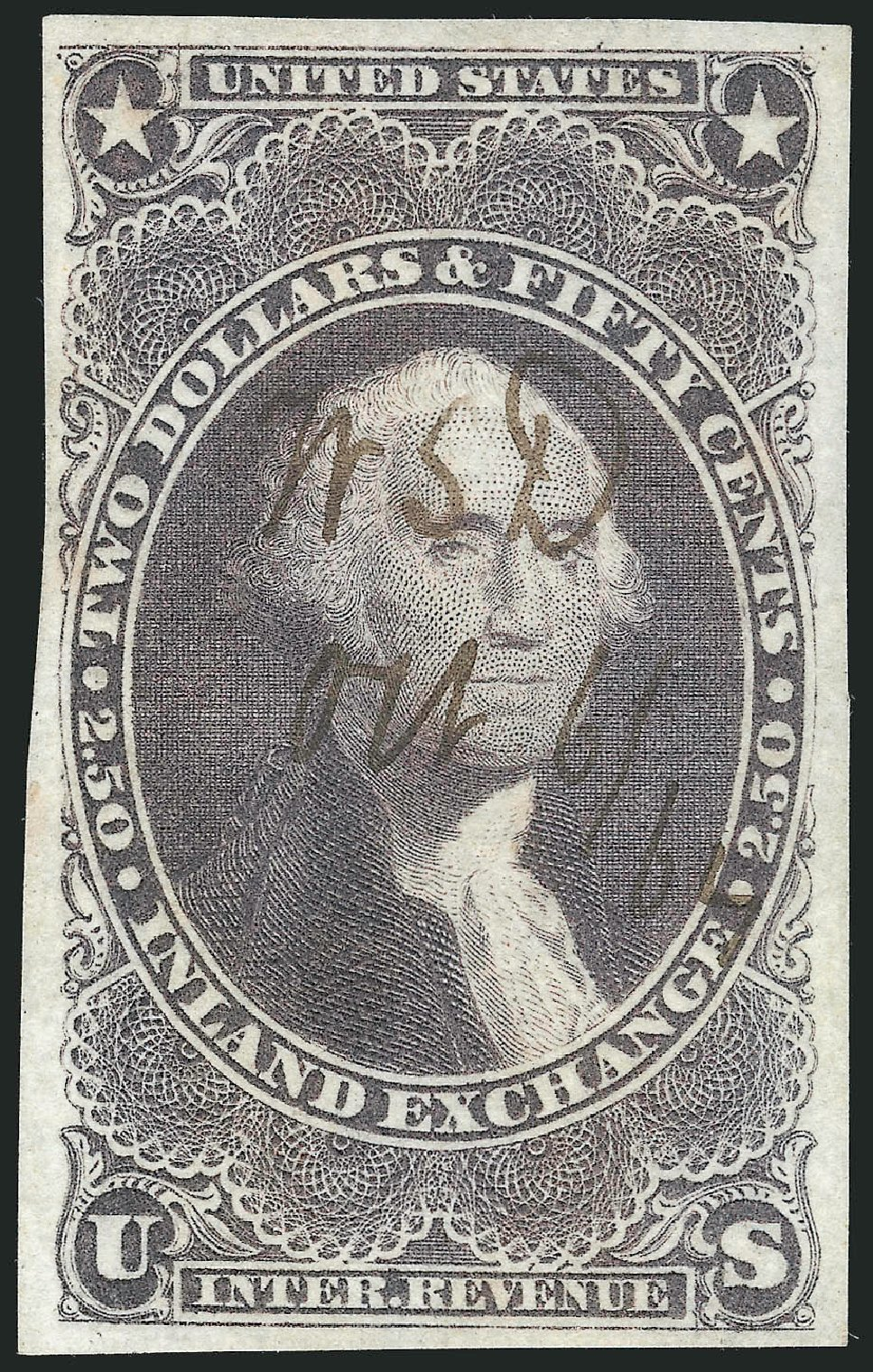 Cost of US Stamps Scott R84 - 1863 US$2.50 Revenue Inland Exchange. Robert Siegel Auction Galleries, Dec 2014, Sale 1089, Lot 246