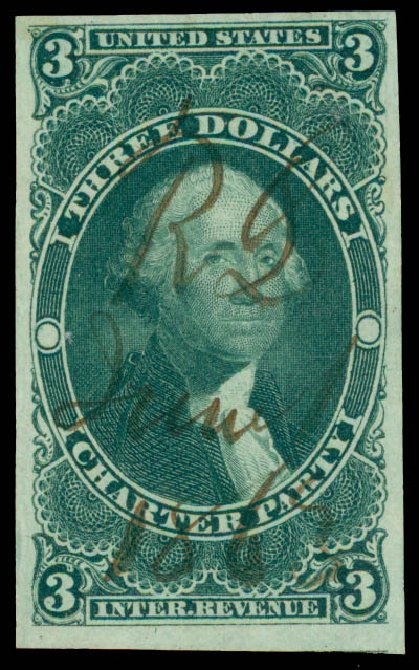 Costs of US Stamps Scott # R85: 1862 US$3.00 Revenue Charter Party. Daniel Kelleher Auctions, May 2015, Sale 665, Lot 127