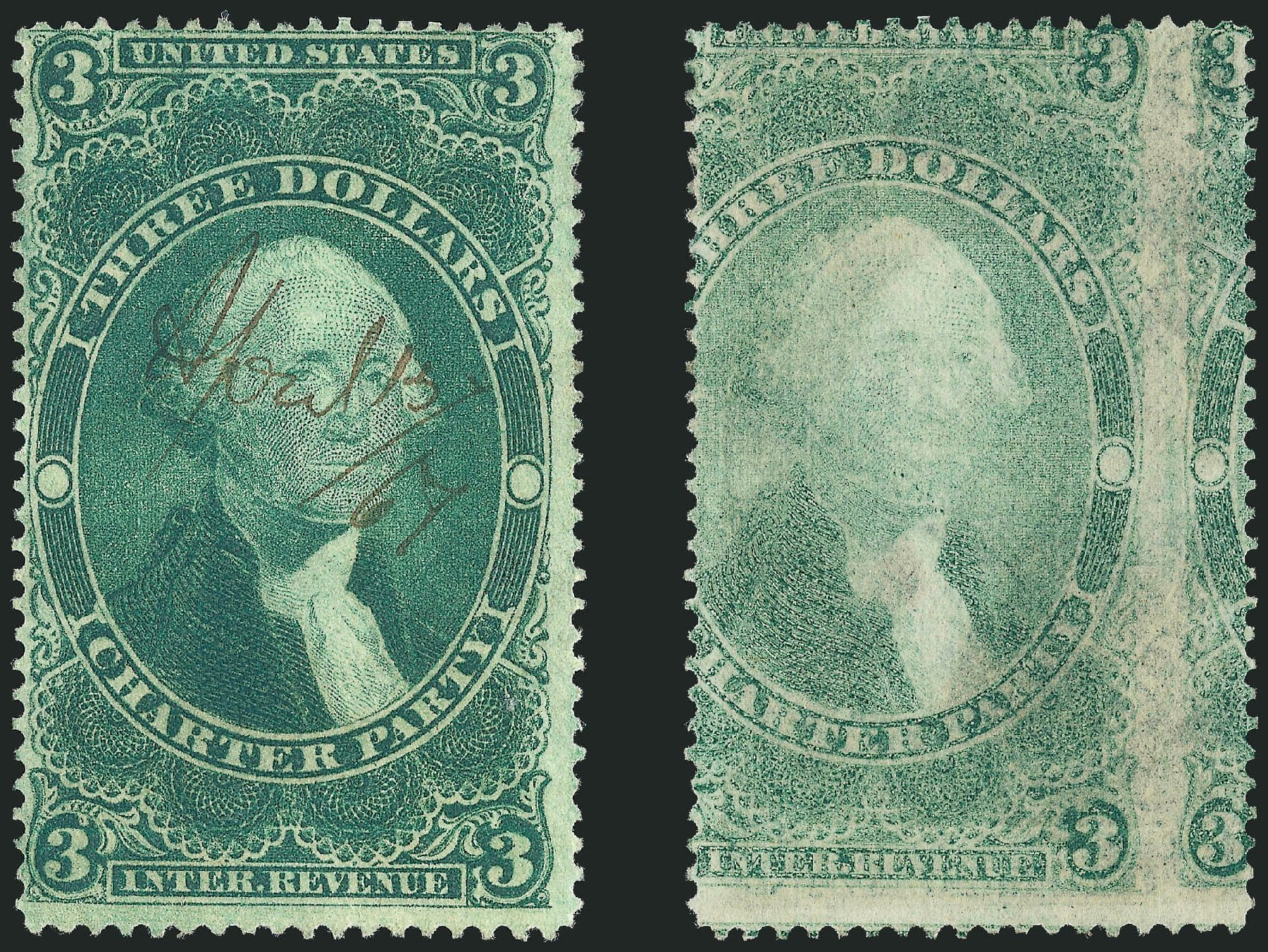 US Stamp Values Scott Catalog #R85: US$3.00 1862 Revenue Charter Party. Robert Siegel Auction Galleries, Jun 2011, Sale 1010, Lot 158