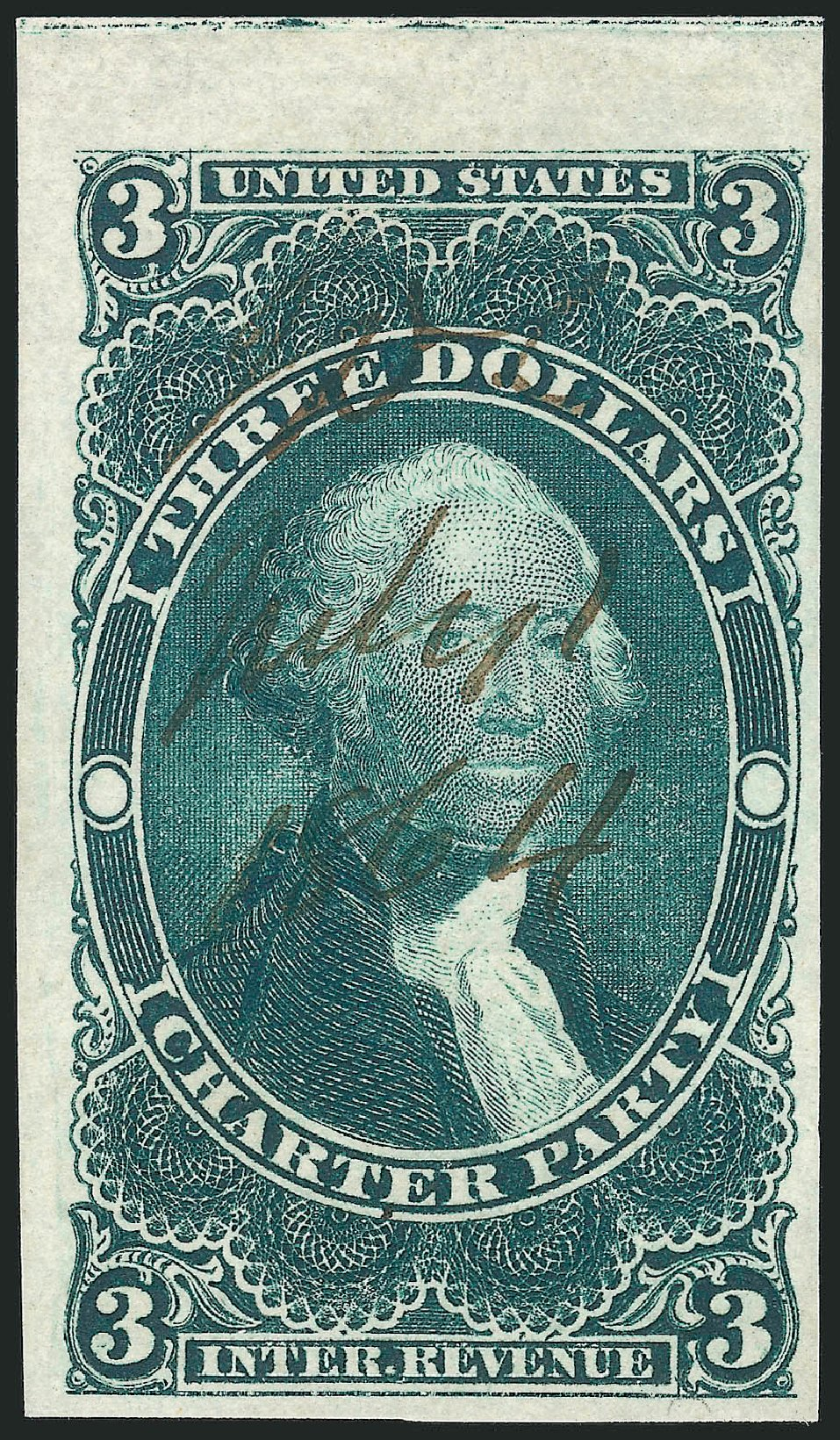 Value of US Stamp Scott Cat. R85 - US$3.00 1862 Revenue Charter Party. Robert Siegel Auction Galleries, Dec 2014, Sale 1089, Lot 248