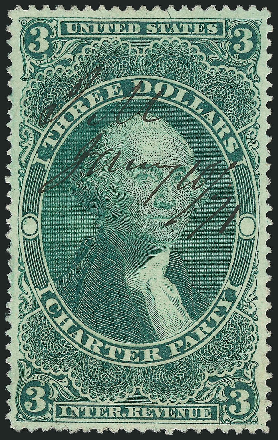 Values of US Stamp Scott R85 - US$3.00 1862 Revenue Charter Party. Robert Siegel Auction Galleries, Mar 2014, Sale 1066, Lot 70