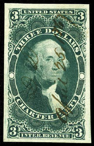 Prices of US Stamp Scott # R85: 1862 US$3.00 Revenue Charter Party. Matthew Bennett International, Feb 2012, Sale 340, Lot 621