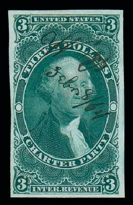 Cost of US Stamp Scott Catalog R85 - US$3.00 1862 Revenue Charter Party. Matthew Bennett International, Dec 2007, Sale 325, Lot 2614