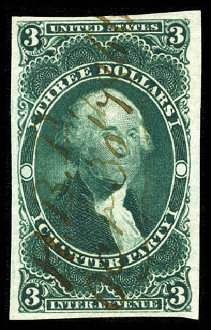 Prices of US Stamp Scott #R85: US$3.00 1862 Revenue Charter Party. Matthew Bennett International, Mar 2012, Sale 344, Lot 4845
