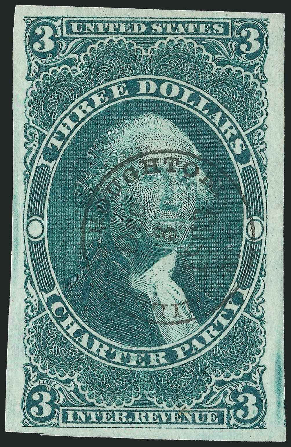 Costs of US Stamp Scott Cat. R85: 1862 US$3.00 Revenue Charter Party. Robert Siegel Auction Galleries, Dec 2009, Sale 978, Lot 1165