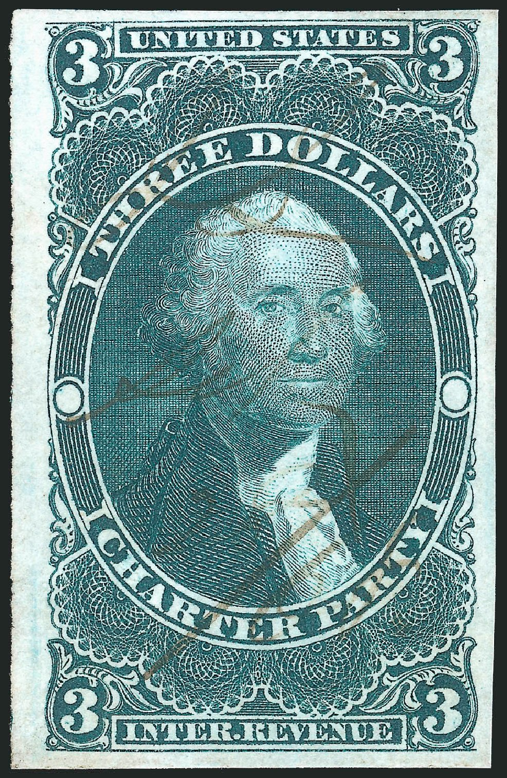 US Stamps Price Scott Catalogue #R85: 1862 US$3.00 Revenue Charter Party. Robert Siegel Auction Galleries, Nov 2011, Sale 1015, Lot 23