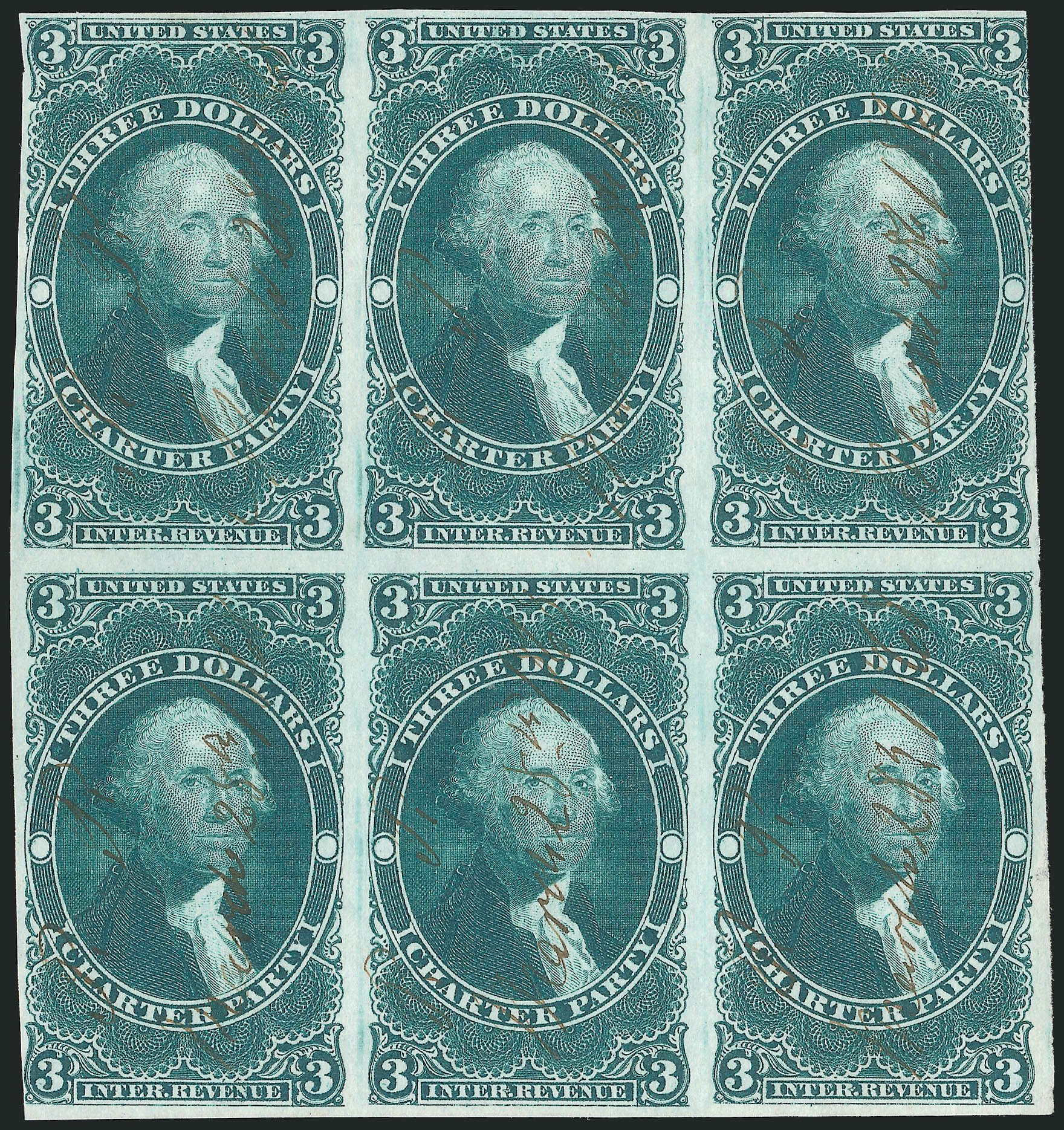 Prices of US Stamps Scott Catalogue #R85 - 1862 US$3.00 Revenue Charter Party. Robert Siegel Auction Galleries, Dec 2014, Sale 1089, Lot 366