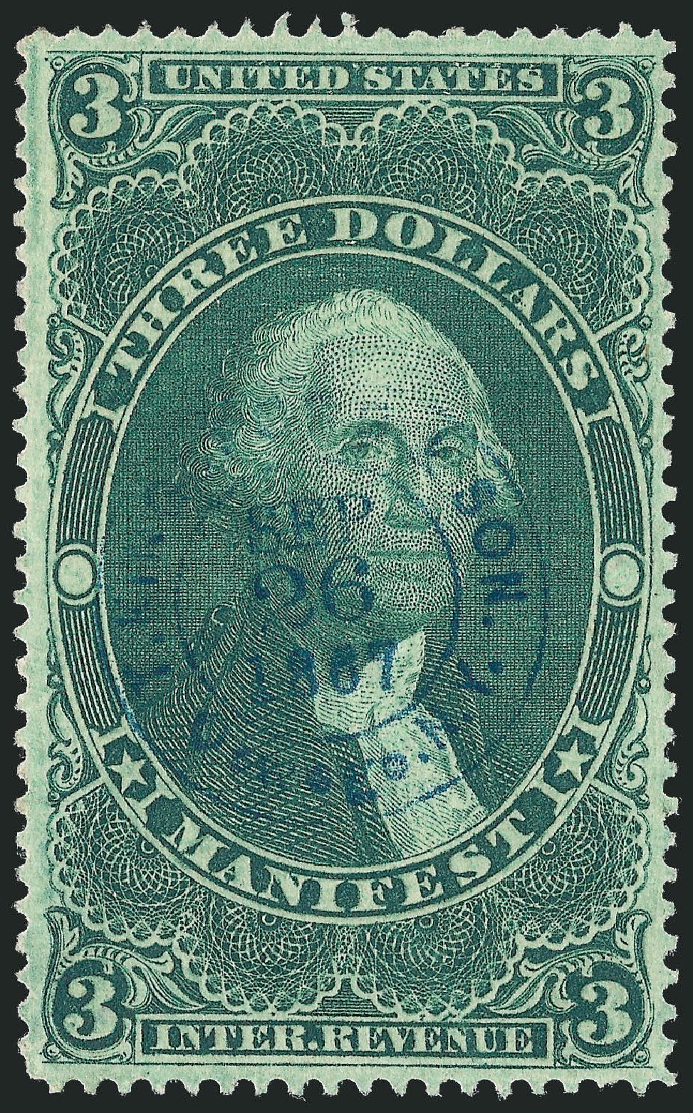 Values of US Stamp Scott #R86: US$3.00 1862 Revenue Manifest. Robert Siegel Auction Galleries, Dec 2009, Sale 978, Lot 1167