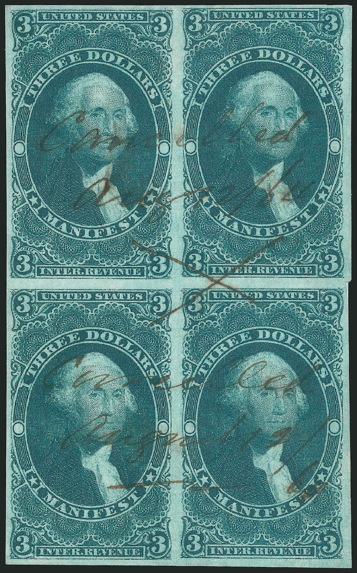 US Stamp Values Scott Cat. #R86: US$3.00 1862 Revenue Manifest. Robert Siegel Auction Galleries, Jun 2015, Sale 1100, Lot 158