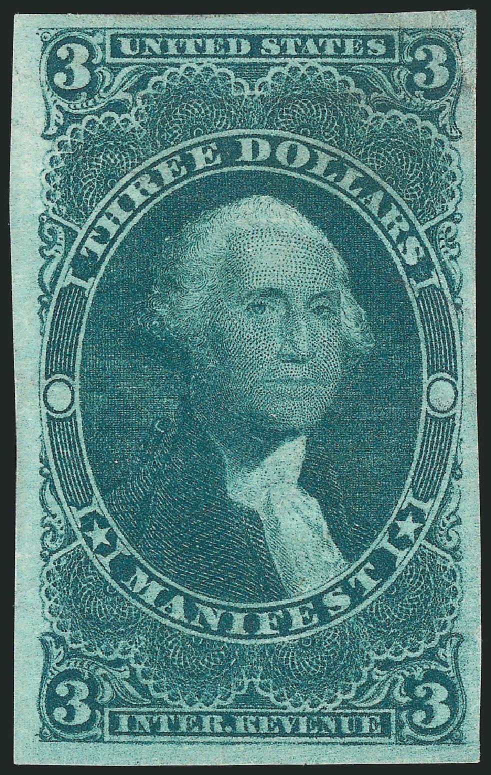US Stamps Values Scott Catalog R86 - 1862 US$3.00 Revenue Manifest. Robert Siegel Auction Galleries, Dec 2014, Sale 1089, Lot 249