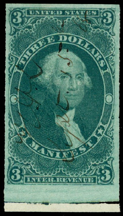 Price of US Stamps Scott Catalog # R86 - US$3.00 1862 Revenue Manifest. Daniel Kelleher Auctions, May 2015, Sale 665, Lot 130