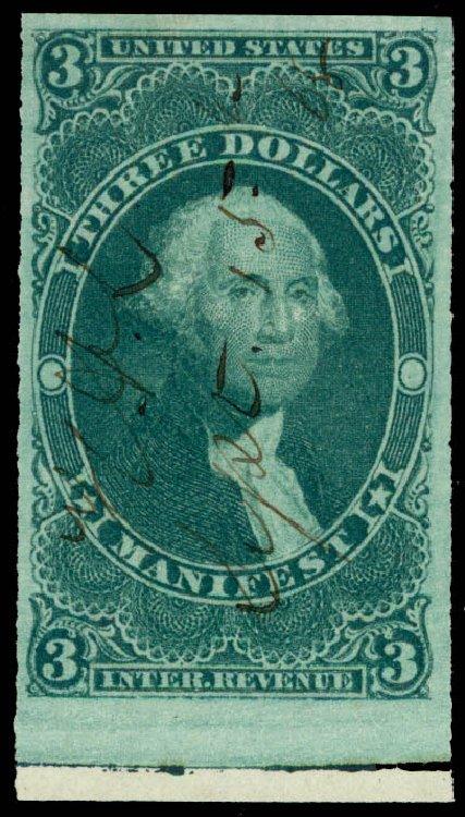 Price of US Stamps Scott Catalog # R86 - US$3.00 1862 Revenue Manifest. Daniel Kelleher Auctions, May 2015, Sale 665, Lot 130