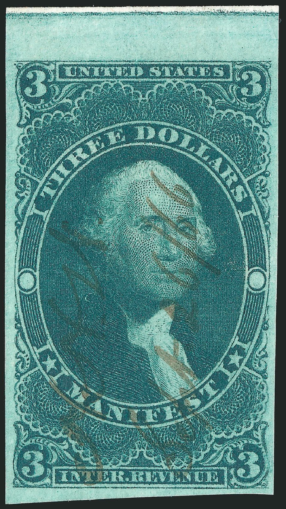 US Stamps Prices Scott #R86 - 1862 US$3.00 Revenue Manifest. Robert Siegel Auction Galleries, Nov 2011, Sale 1015, Lot 24