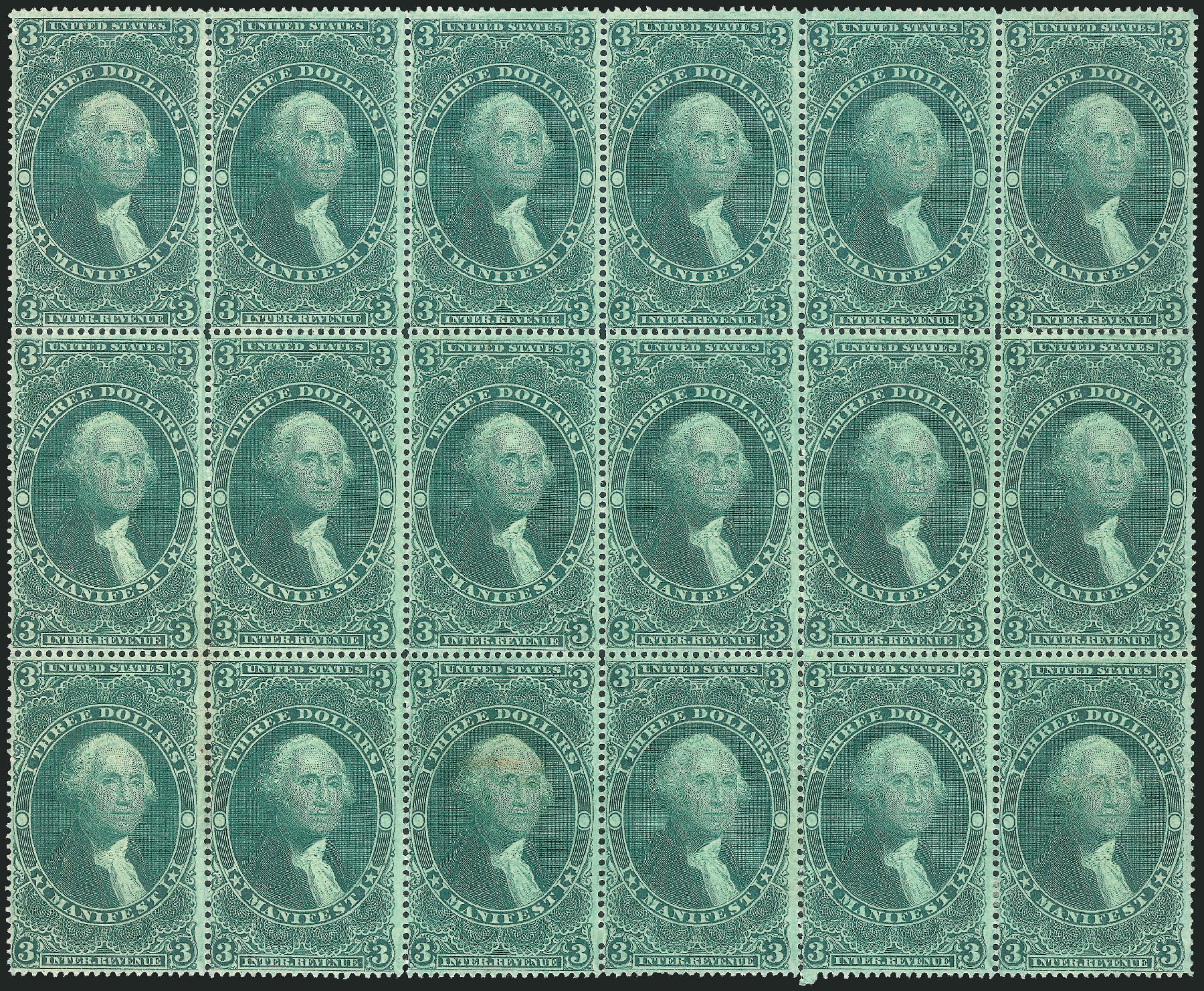 Prices of US Stamps Scott Catalogue # R86 - US$3.00 1862 Revenue Manifest. Robert Siegel Auction Galleries, Dec 2014, Sale 1089, Lot 434