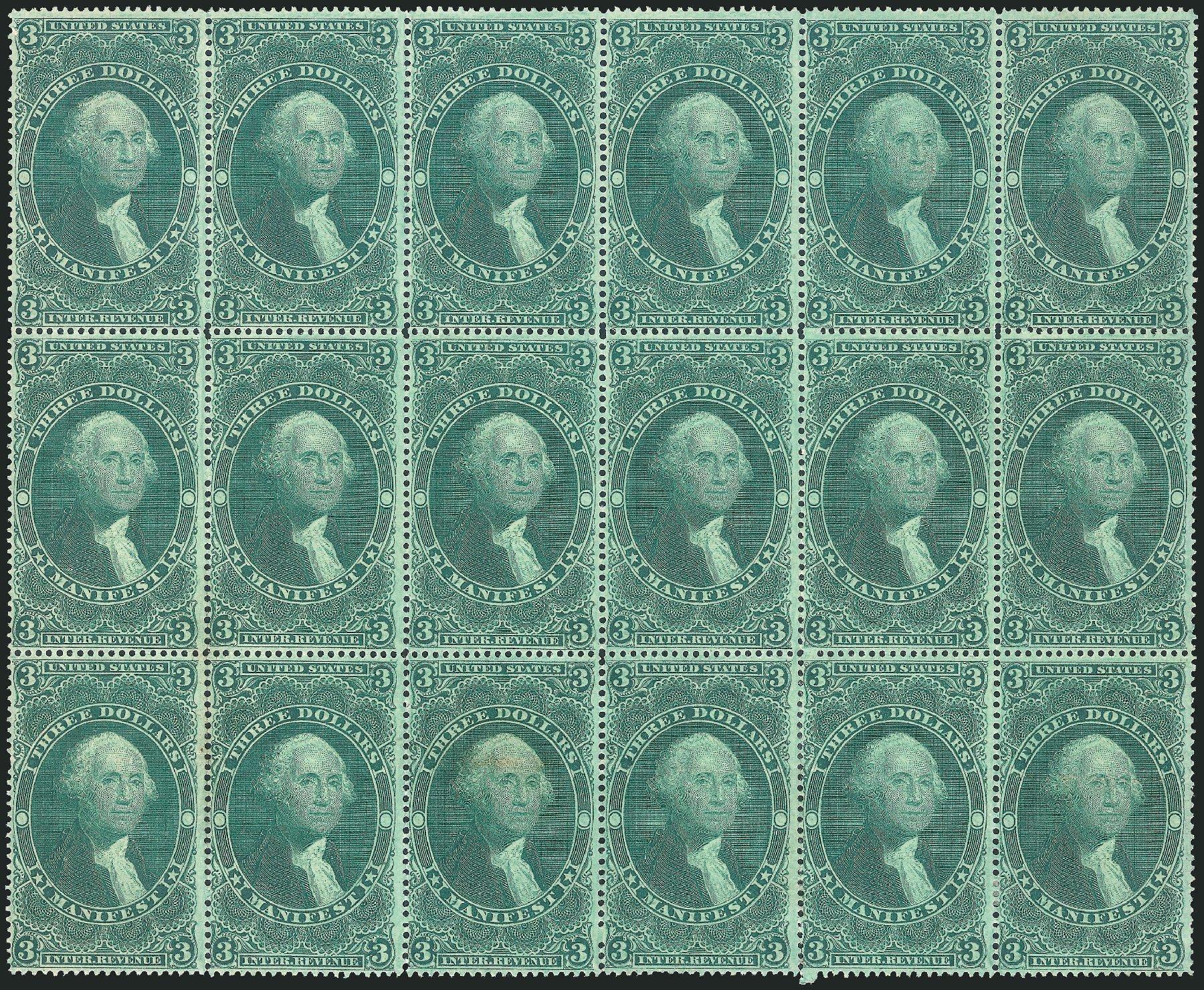 Prices of US Stamps Scott Catalogue # R86 - US$3.00 1862 Revenue Manifest. Robert Siegel Auction Galleries, Dec 2014, Sale 1089, Lot 434