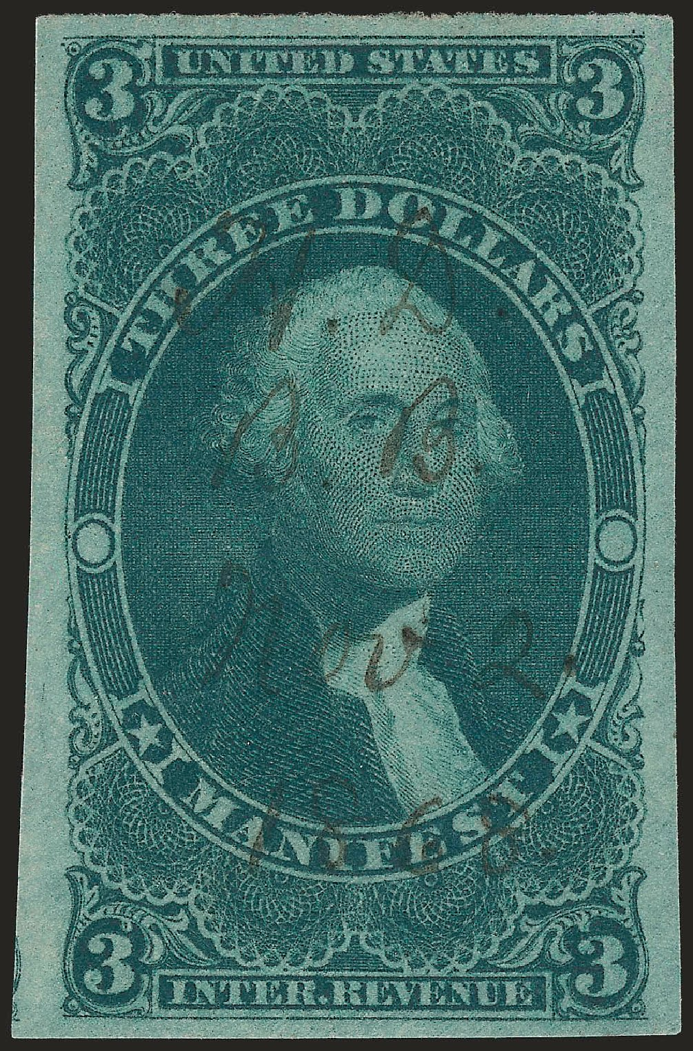 Value of US Stamps Scott Cat. # R86: 1862 US$3.00 Revenue Manifest. Robert Siegel Auction Galleries, Jun 2009, Sale 975, Lot 2295