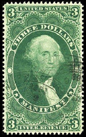 US Stamps Values Scott R86 - US$3.00 1862 Revenue Manifest. Matthew Bennett International, Mar 2012, Sale 344, Lot 4846